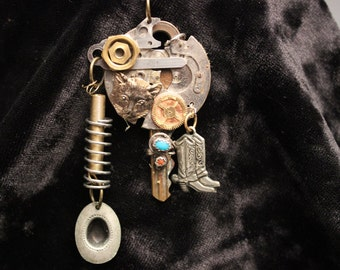 Cowboy Boot Steampunk Pendant Necklace