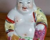 Hand Painted, Colourful Laughing Buddha Ceramic Statue, Colourful Laughing Buddha Seated Statue, Vintage Seated Buddha Figure.