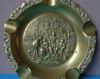 Beautiful Large Vintage Brass Ashtray showing Medieval Village Scene, Large, Solid Brass Vintage, Round, Ashtray, With Medieval Scenes
