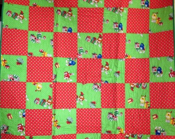 Christmas Lap Quilt with M&M's Fabric