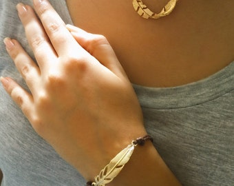 Leaf Leather Bracelet, Gold Leaf Bracelet