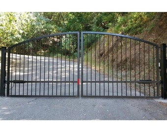 Free shipping custom automatic wrought iron redwood swing for Single wooden driveway gates