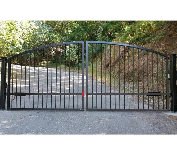 Dual Wrought Iron Driveway Gate With Posts Hinges Free