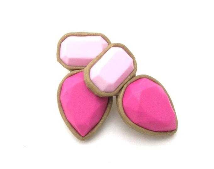 Polymer clay stud earrings - handmade, fuchsia and pink, large jewel, stud earrings// #SE1017