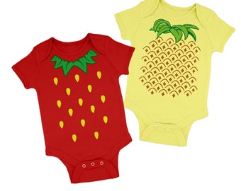 Strawberry Costume and Pineapple Costume baby grow bundle - Red/Pale Yellow