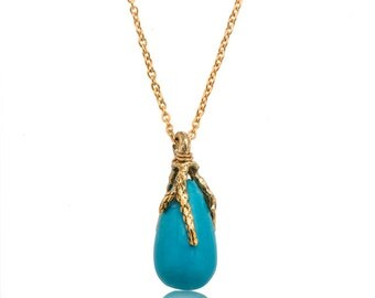 Turquoise  and gold drop necklace, real gold necklace, tourquoise necklace gold, torquoize pendant.