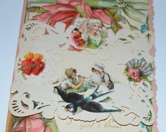 Antique Valentine Card Victorian Embossed Die Cut