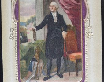 Patriotic Postcard George Washington Silk Coat