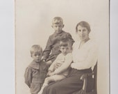 Image of CDV Mother and Sons, 3 Brothers Cabinet Card Vintage Real Photograph of 1920s Mother with her Three Boys Large Studio Portrait