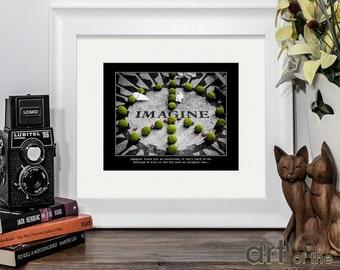 John Lennon - Imagine   Fine Art Photographic Print plus quote from lyrics   Strawberry Fields, New York City   The Beatles