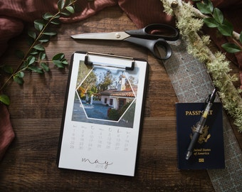 """Eliza, A Hexagon Calendar Collection, Sized at 5.5""""x 8x5"""" and Featuring Landscape Photographs from around the world."""