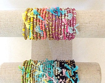 Boho Stretch Beaded Stacking Bracelets, Dainty Glass Beaded Stacking Bracelets, Summer Color Bracelets