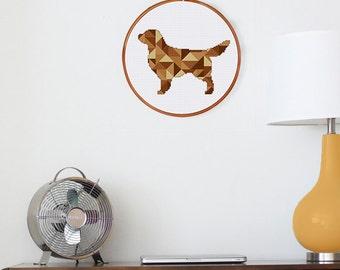 Geometric Dog, Golden Retriever cross stitch pattern, dog cross stitch, modern cross stitch, minimalist cross stitch art, gift for dog lover