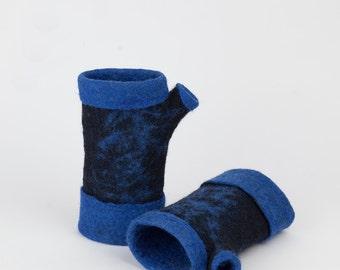 Felted fingerless gloves, Felt merino gloves, Wool gloves, Winter, autumn accessory,  Felt arm warmers, Piece unique