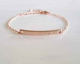Personalized Rose Gold Jewelry, Rose Gold Personalized Bracelet, Dainty Bar Bracelet, Rose Gold Custom Bracelet