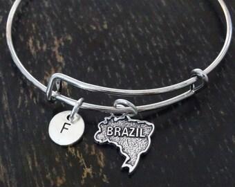 Brazil Bangle Bracelet, Adjustable Expandable Bangle Bracelet, Brazil Charm, Brazil Pendant, Brazil Jewelry, Brazil Map, Brazilian Bracelet