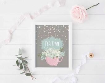 Tea time, Tea time print, Tea time nursery wall decor, Tea time printable, Tea print, Tea cup art, Kitchen art
