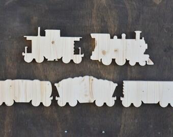 Wood Train Car Cutouts