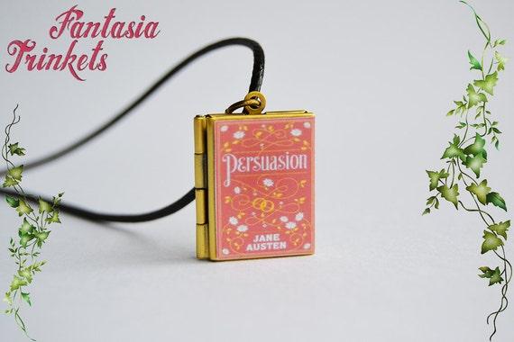 De Austen persuasión libro medallón (citar dentro) encanto, llavero o colgante, collar