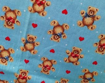 "Vintage fabric,TEDDYS & HEARTS, 31""x46"",Wamsutta OTC,Hallmark Cards Inc,Juvenile Print"