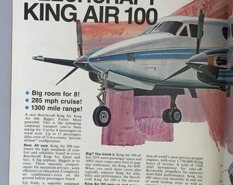 1969 Beechcraft King Air 100 Centerfold Print Ad - Corporate Twin Propjet