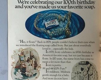 1979 Ivory Soap Centerfold Print Ad - 100th Birthday