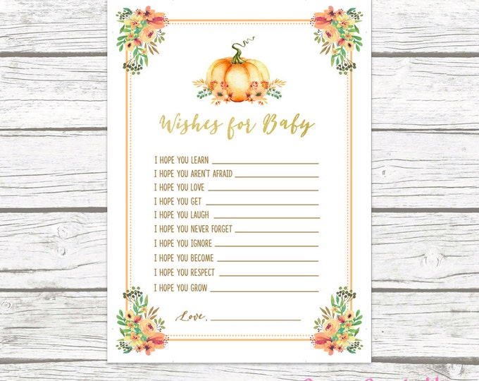 Pumpkin Wishes for Baby Card, Boho Rustic Fall Floral Baby Shower, Printable Baby Shower Advice Card, Baby Shower Games