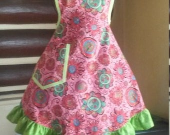 ON SALE: Woman's Ruffled up Flower Power 1940's Vintage Style cooking apron.