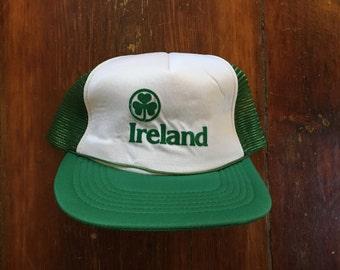 Vintage Ireland Shamrock Irish Trucker Hat Snapback Baseball Cap