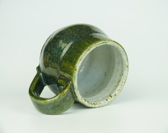 Elegant green and white handmade ceramic mug