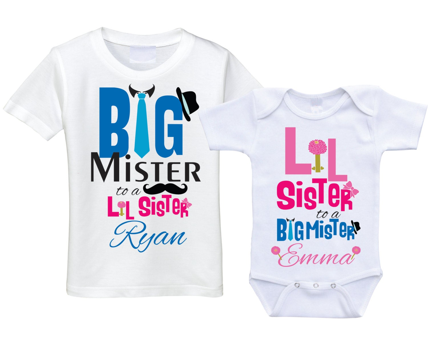 Personalized Big Brother Little Sister Shirts Matching Sibling