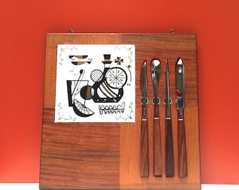 Mid Century Modern Bar Utensils and Cutting Board