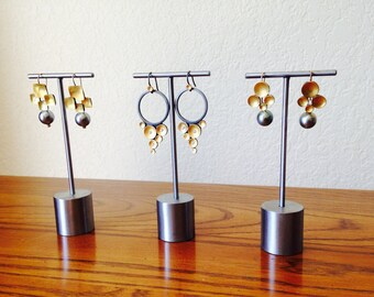 NEW! Set of three weighted earring displays, earring stand, craft show display, store display E110