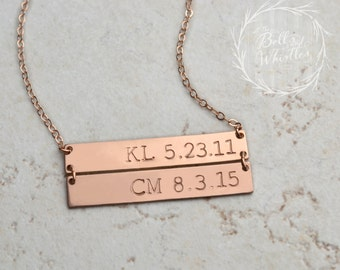 Double Bar necklace, linked bar necklace, Personalized Bar Necklace, Gold Bar Necklace, custom necklace, name plate necklace, mom gift