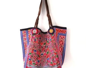 Patchwork hobo, Hip, Tribal embroideries bag, gypsy hippie bag, vintage afghan and hmong textiles
