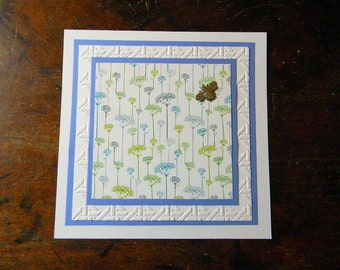 Embossed All Occasion Greeting Card, Lacy Flowers Embossed Card, Blank Inside, All Occasion Handmade Greeting Cards