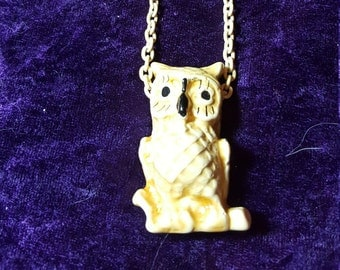 Vintage Ceramic owl Necklace on Yellow chain