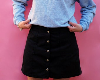 Buttoned Skirt & Heart Pocket