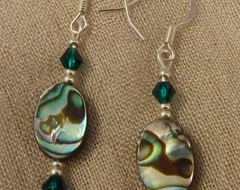 Abalone and Green Crystal Earrings