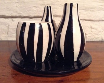 Black And White Striped Condiment Set/Vintage 1950s. Perfect