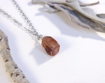 Mini Aragonite crystal pendant - Stone of harmony. Boho Necklace -