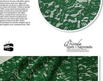 Green alencon lace, bridal lace fabric, green lace fabric