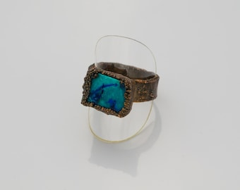 Textured Copper Balboa Blue Azurite Ring Size 10-1/2