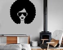Wall Vinyl Music Black Afro American Girl Guaranteed Quality Decal Mural Art 1551dz
