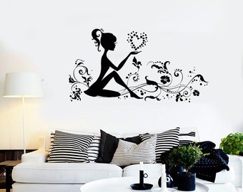 Wall Vinyl Decal Young Girl Flower Floral Heart Romantic Bedroom Decor 2264di