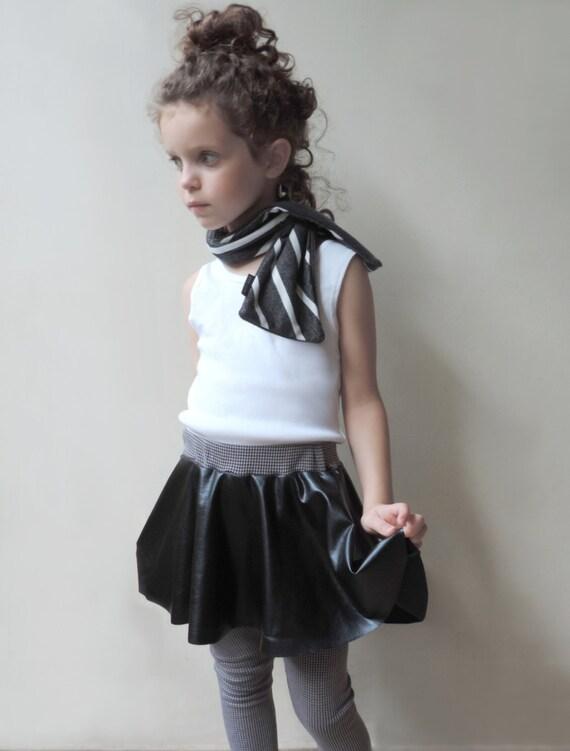 Girl Skirt - Girl Black Skirt And Leggings - Girls Christmas Skirt - Full Circle Skirt - Black Faux Leather Skirt & Leggings  - By PetitWild