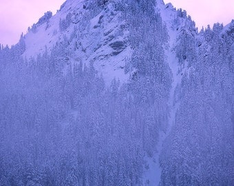 Alpenglow, mountain, sunset, mountain peak, climbing, mountaineering, washington, snoqualmie pass, winter, nature, wall art, landscape,