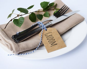 Wedding Place Cards Tags Rustic - Kraft Customised with Twine - 25 / 50 / 100 / 150 / 200 / 250 packs