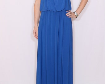 Royal blue Bridesmaid dress Cobalt blue dress Bright blue dress Maxi dress