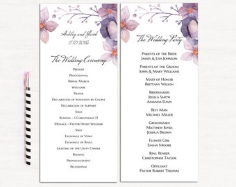Floral wedding program purple Boho wedding Program card flowers ceremony Lavender program downloadable Watercolor wedding ceremony card 1W97